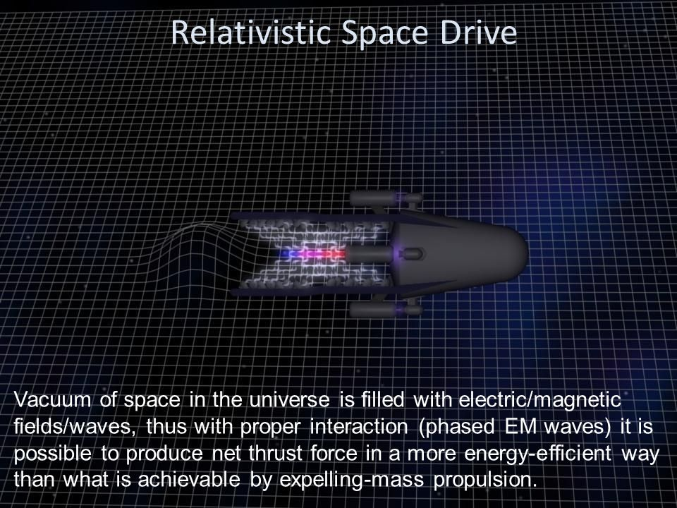 Relativistic Space Drive Vacuum of space in the universe is filled with electric/magnetic fields/waves, thus with proper interaction (phased EM waves)