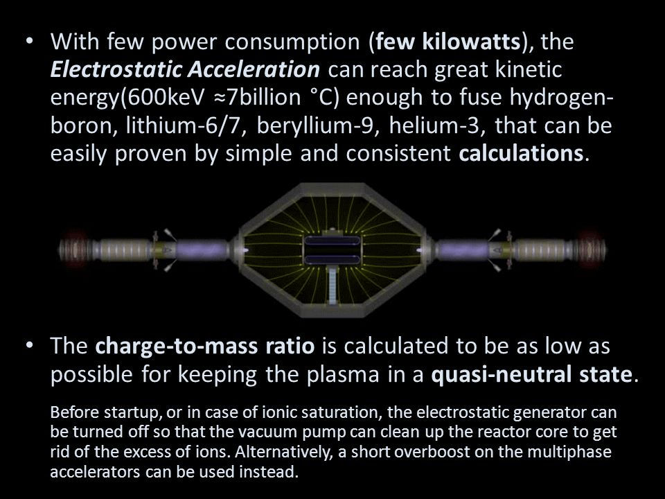 With few power consumption (few kilowatts), the Electrostatic Acceleration can reach great kinetic energy(600keV ≈7billion °C) enough to fuse hydrogen- boron, lithium-6/7, beryllium-9, helium-3, that can be easily proven by simple and consistent calculations.
