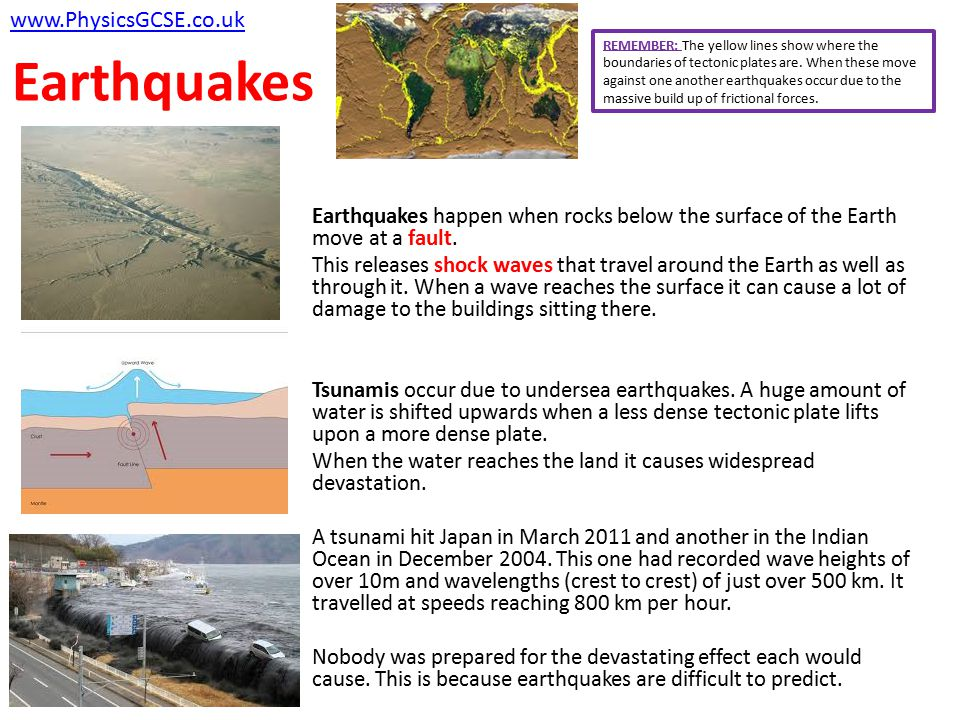 Earthquakes Earthquakes happen when rocks below the surface of the Earth move at a fault. This releases shock waves that travel around the Earth as we