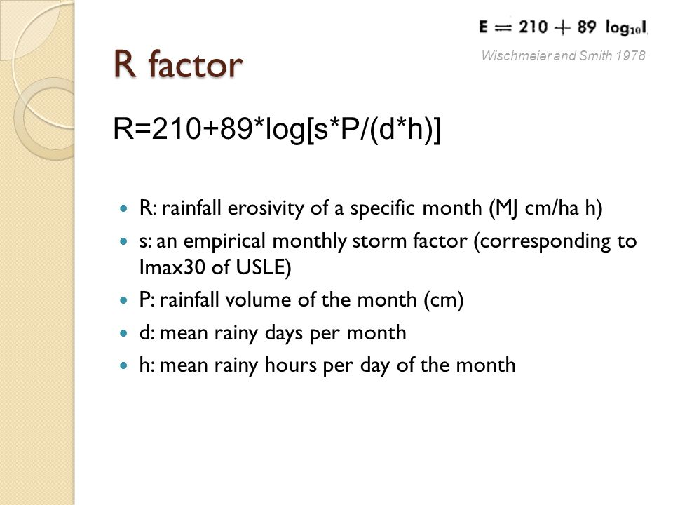 R factor R=210+89*log[s*P/(d*h)] R: rainfall erosivity of a specific month (MJ cm/ha h) s: an empirical monthly storm factor (corresponding to Imax30 of USLE) P: rainfall volume of the month (cm) d: mean rainy days per month h: mean rainy hours per day of the month Wischmeier and Smith 1978
