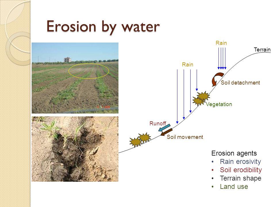 Erosion by water Rain Runoff Soil detachment Rain Soil movement Terrain Vegetation Erosion agents Rain erosivity Soil erodibility Terrain shape Land use