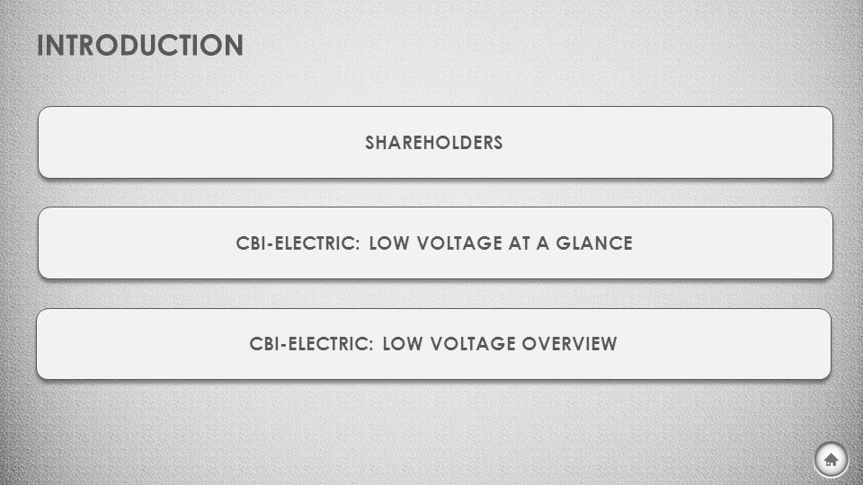 INTRODUCTION SHAREHOLDERS CBI-ELECTRIC: LOW VOLTAGE AT A GLANCE CBI-ELECTRIC: LOW VOLTAGE OVERVIEW