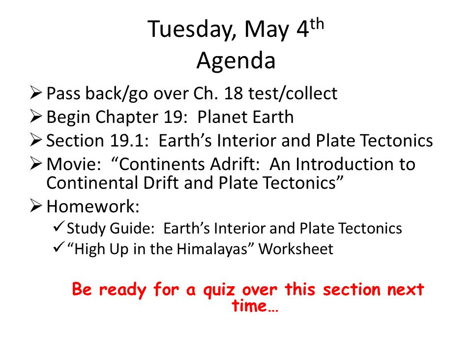 Tuesday, May 4 th Agenda  Pass back/go over Ch.