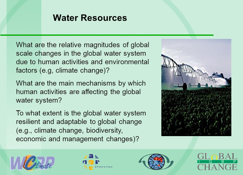 Water Resources What are the relative magnitudes of global scale changes in the global water system due to human activities and environmental factors (e.g, climate change).
