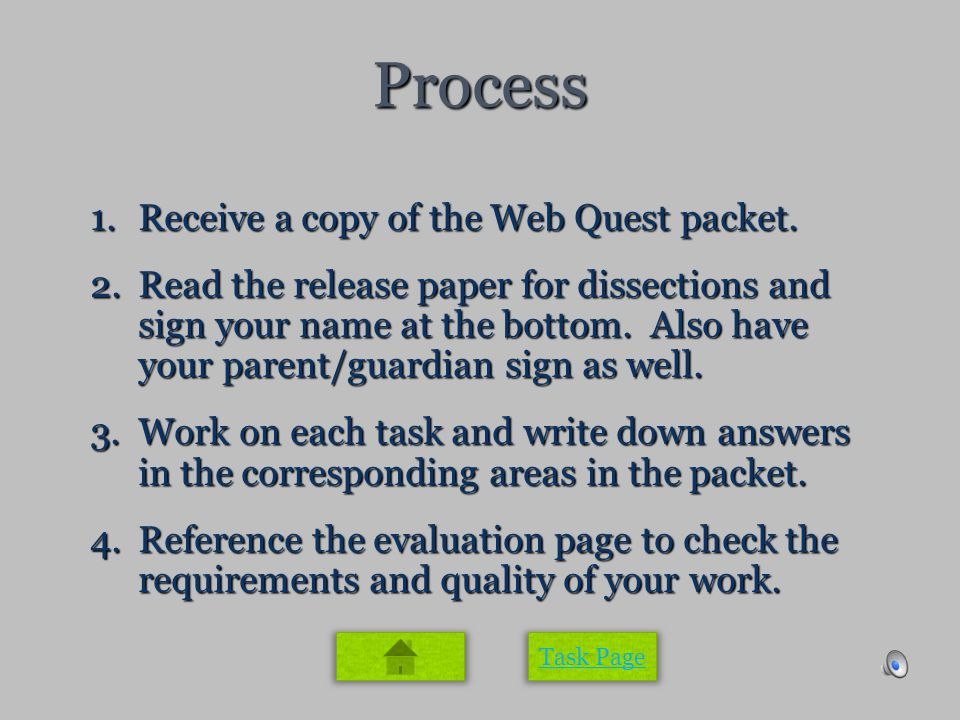 Process 1.Receive a copy of the Web Quest packet.