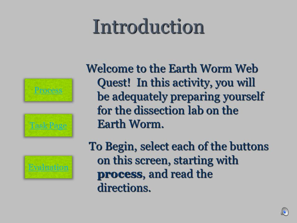 Introduction Welcome to the Earth Worm Web Quest.