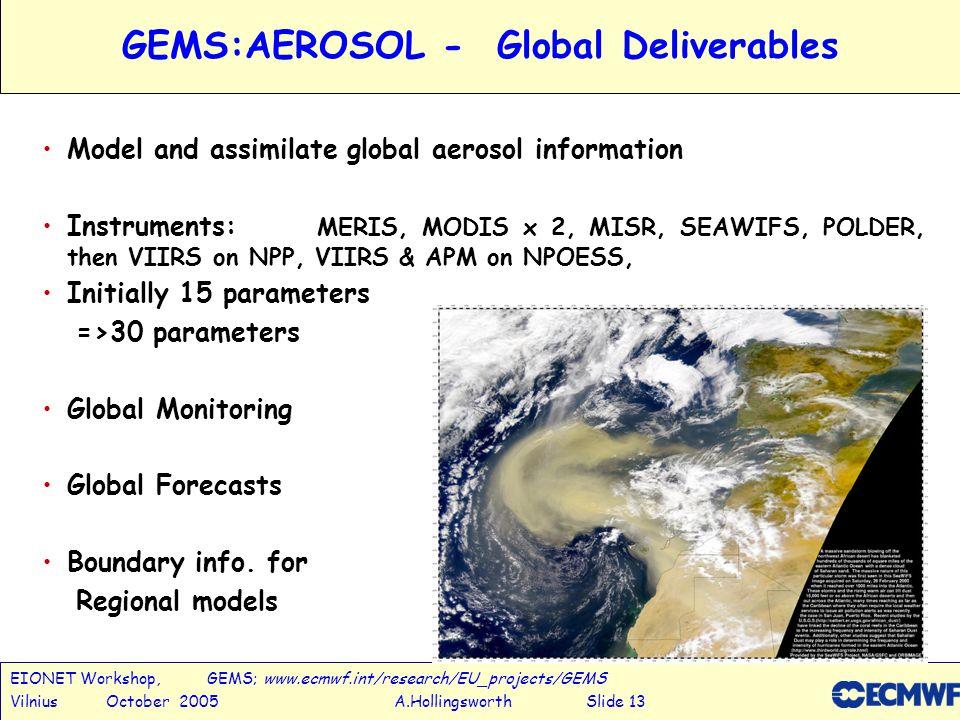 EIONET Workshop, GEMS; www.ecmwf.int/research/EU_projects/GEMS Vilnius October 2005 A.Hollingsworth Slide 13 GEMS:AEROSOL - Global Deliverables Model and assimilate global aerosol information Instruments: MERIS, MODIS x 2, MISR, SEAWIFS, POLDER, then VIIRS on NPP, VIIRS & APM on NPOESS, Initially 15 parameters =>30 parameters Global Monitoring Global Forecasts Boundary info.