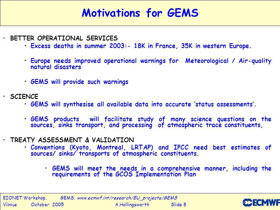 EIONET Workshop, GEMS; www.ecmwf.int/research/EU_projects/GEMS Vilnius October 2005 A.Hollingsworth Slide 8 Motivations for GEMS BETTER OPERATIONAL SERVICES Excess deaths in summer 2003:- 18K in France, 35K in western Europe.