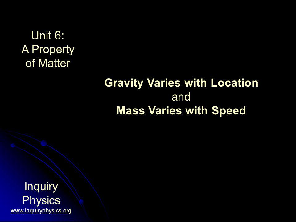 Unit 6: A Property of Matter Inquiry Physics www.inquiryphysics.org Gravity Varies with Location and Mass Varies with Speed
