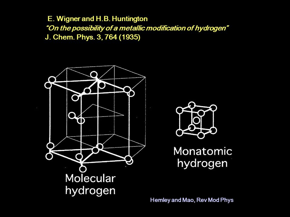 E.Wigner and H.B. Huntington On the possibility of a metallic modification of hydrogen J.