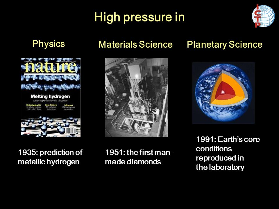 Materials SciencePlanetary Science High pressure in 1951: the first man- made diamonds 1991: Earth's core conditions reproduced in the laboratory Phys