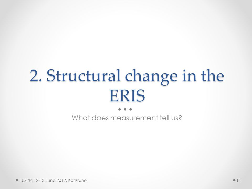 2. Structural change in the ERIS What does measurement tell us EUSPRI 12-13 June 2012, Karlsruhe11