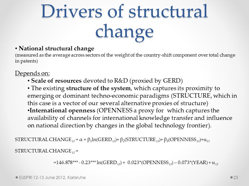 Drivers of structural change EUSPRI 12-13 June 2012, Karlsruhe23 National structural change (measured as the average across sectors of the weight of the country-shift component over total change in patents) Depends on: Scale of resources devoted to R&D (proxied by GERD) The existing structure of the system, which captures its proximity to emerging or dominant techno-economic paradigms (STRUCTURE, which in this case is a vector of our several alternative proxies of structure) International openness (OPENNESS a proxy for which captures the availability of channels for international knowledge transfer and influence on national direction by changes in the global technology frontier).