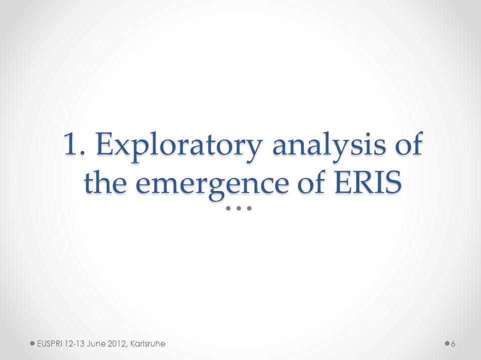1. Exploratory analysis of the emergence of ERIS EUSPRI 12-13 June 2012, Karlsruhe6