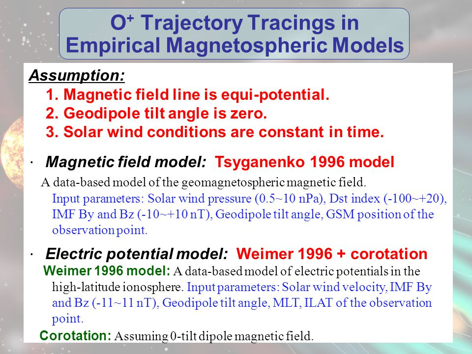O + Trajectory Tracings in Empirical Magnetospheric Models Assumption: 1.