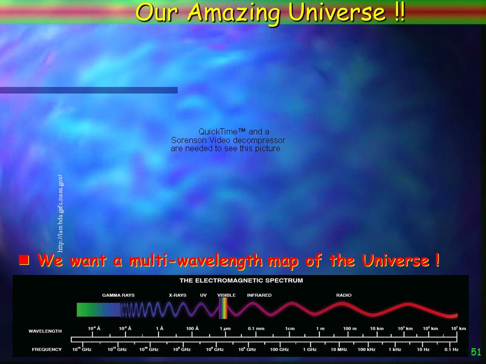 50 The Universe Now and Then Connecting the very early Universe with today's Universe The ASTRO-F dark Energy Project time The WMAP Universe The ASTRO