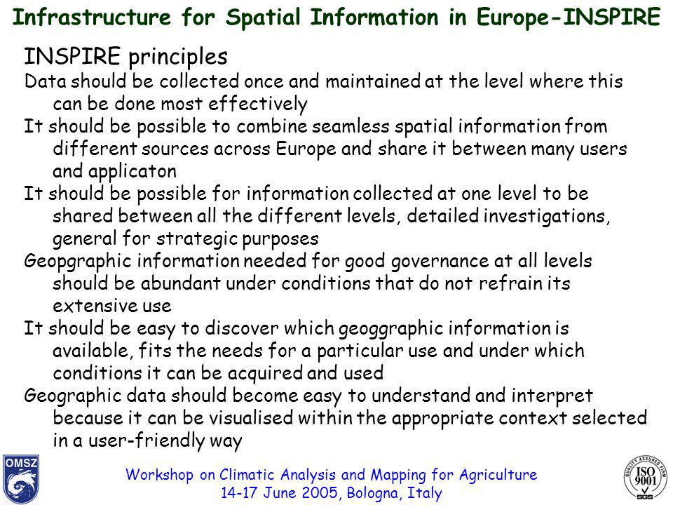 Workshop on Climatic Analysis and Mapping for Agriculture 14-17 June 2005, Bologna, Italy Infrastructure for Spatial Information in Europe-INSPIRE INSPIRE principles Data should be collected once and maintained at the level where this can be done most effectively It should be possible to combine seamless spatial information from different sources across Europe and share it between many users and applicaton It should be possible for information collected at one level to be shared between all the different levels, detailed investigations, general for strategic purposes Geopgraphic information needed for good governance at all levels should be abundant under conditions that do not refrain its extensive use It should be easy to discover which geoggraphic information is available, fits the needs for a particular use and under which conditions it can be acquired and used Geographic data should become easy to understand and interpret because it can be visualised within the appropriate context selected in a user-friendly way