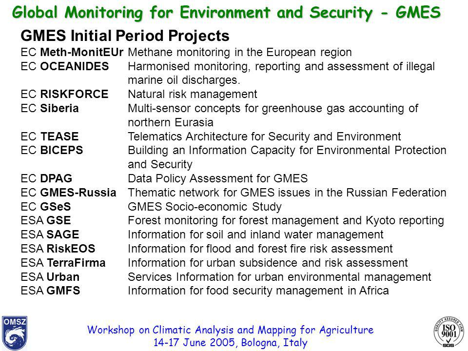 Workshop on Climatic Analysis and Mapping for Agriculture 14-17 June 2005, Bologna, Italy Global Monitoring for Environment and Security - GMES GMES I