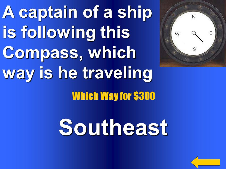 . What causes a compass needle to point to geographic north? It aligns itself with the Earth's magnetic field Which Way for $200