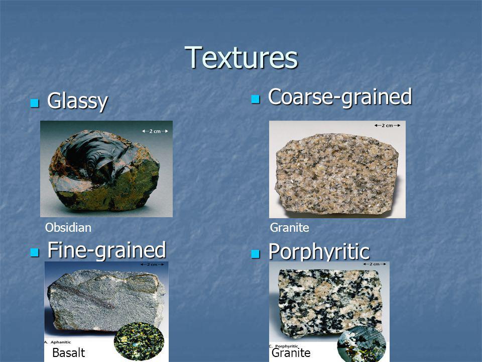 Textures Glassy Glassy Fine-grained Fine-grained Coarse-grained Coarse-grained Porphyritic Porphyritic ObsidianGranite Basalt