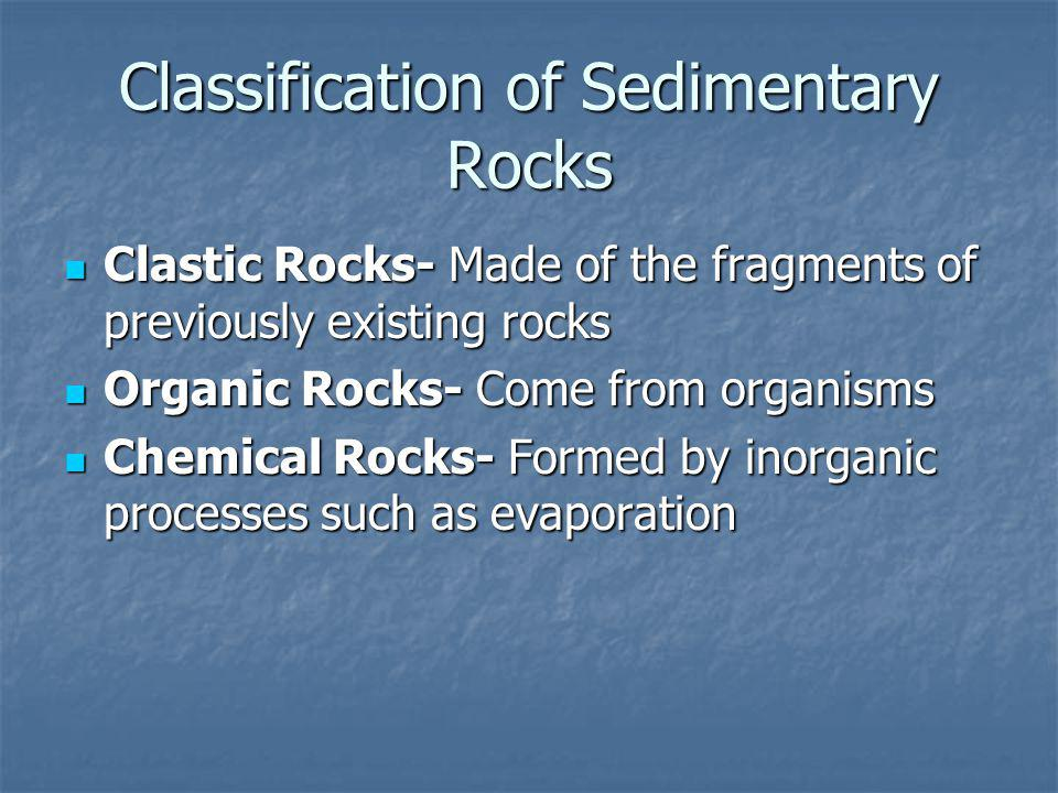 Classification of Sedimentary Rocks Clastic Rocks- Made of the fragments of previously existing rocks Clastic Rocks- Made of the fragments of previously existing rocks Organic Rocks- Come from organisms Organic Rocks- Come from organisms Chemical Rocks- Formed by inorganic processes such as evaporation Chemical Rocks- Formed by inorganic processes such as evaporation