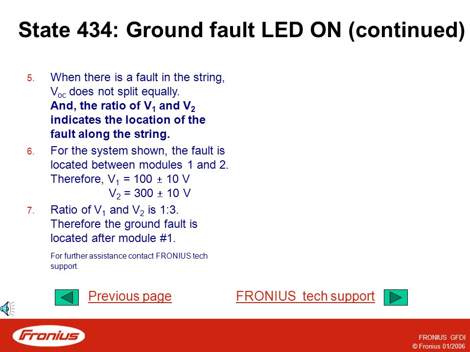 © Fronius 01/2006 FRONIUS GFDI State 434: Ground fault LED ON (continued) Continue… 1. First, remove the GFDI fuse. (For a string inverter system with