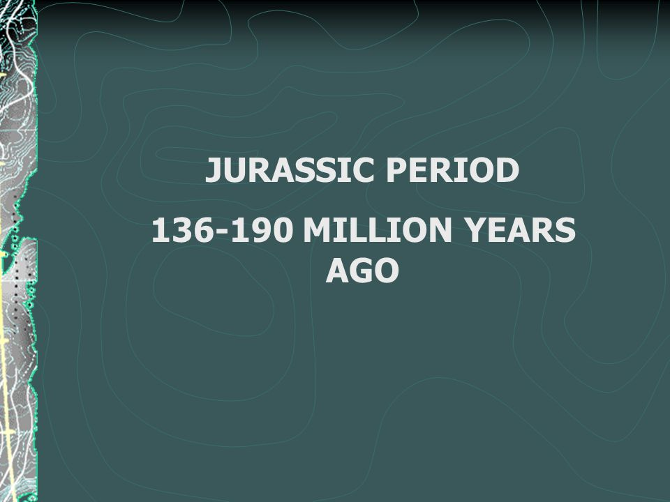 JURASSIC PERIOD 136-190 MILLION YEARS AGO