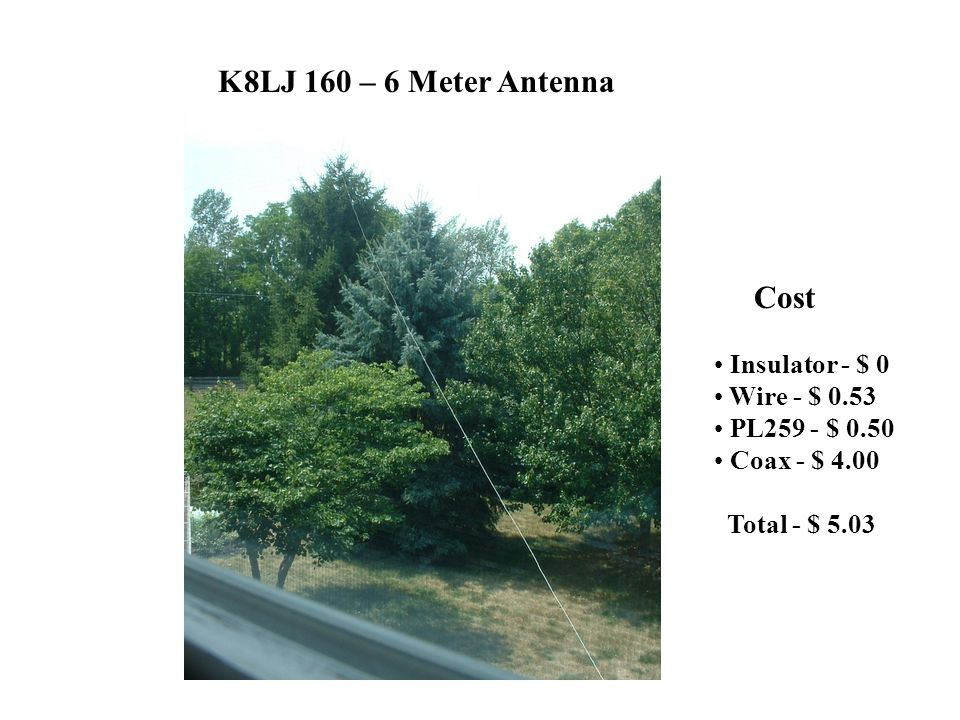 K8LJ 160 – 6 Meter Antenna Cost Insulator - $ 0 Wire - $ 0.53 PL259 - $ 0.50 Coax - $ 4.00 Total - $ 5.03
