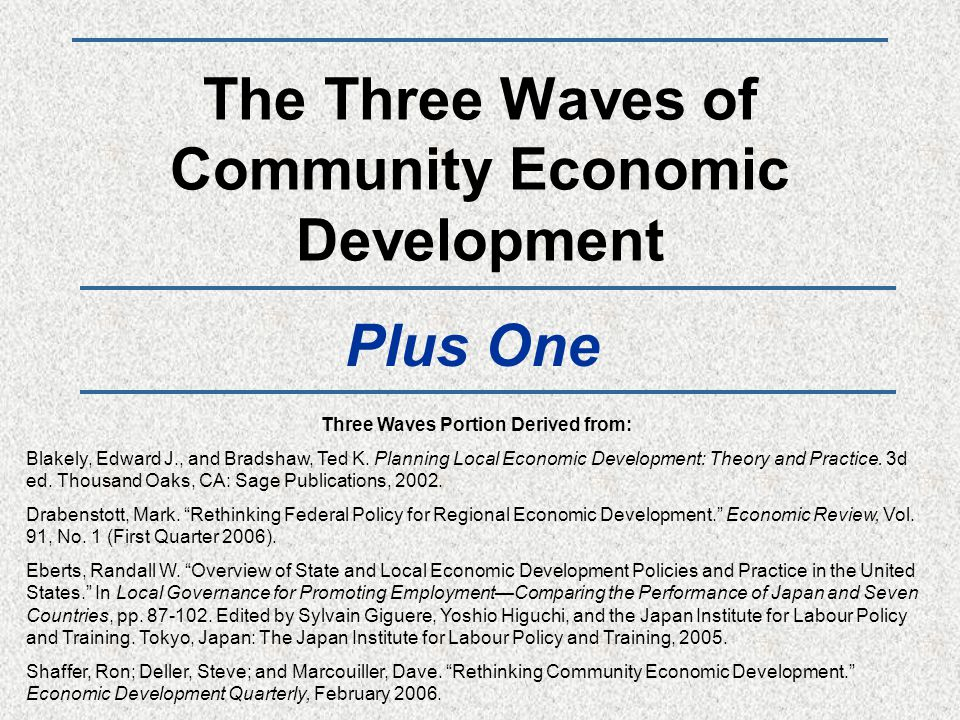 The Three Waves of Community Economic Development Plus One Three Waves Portion Derived from: Blakely, Edward J., and Bradshaw, Ted K. Planning Local E
