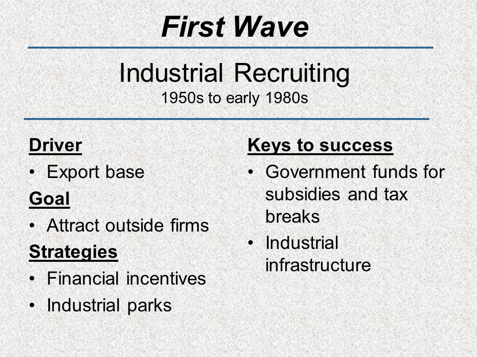 First Wave Industrial Recruiting 1950s to early 1980s Driver Export base Goal Attract outside firms Strategies Financial incentives Industrial parks Keys to success Government funds for subsidies and tax breaks Industrial infrastructure