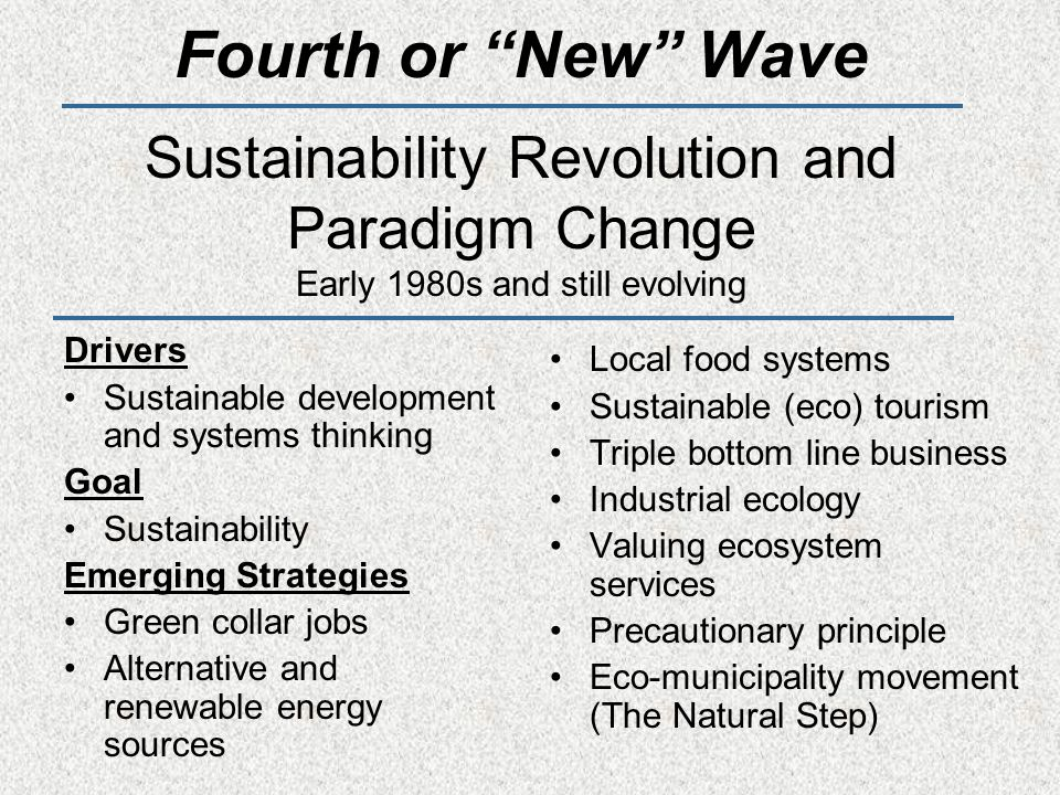 Fourth or New Wave Sustainability Revolution and Paradigm Change Early 1980s and still evolving Drivers Sustainable development and systems thinking Goal Sustainability Emerging Strategies Green collar jobs Alternative and renewable energy sources Local food systems Sustainable (eco) tourism Triple bottom line business Industrial ecology Valuing ecosystem services Precautionary principle Eco-municipality movement (The Natural Step)