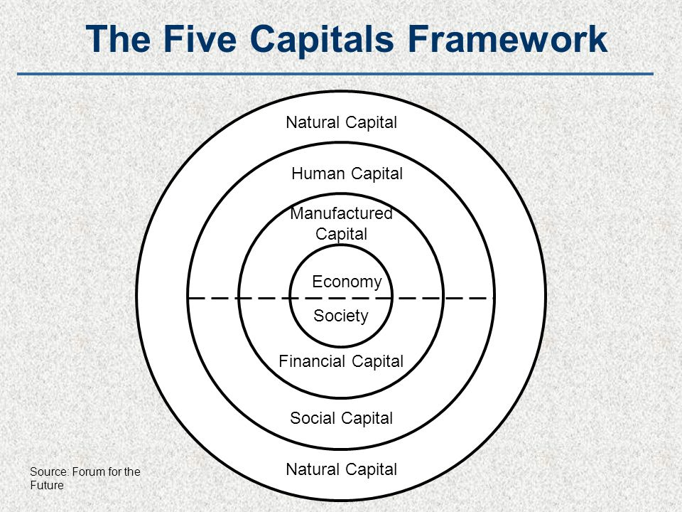 Natural Capital Financial Capital Manufactured Capital Human Capital Economy Society Natural Capital Social Capital The Five Capitals Framework Source: Forum for the Future