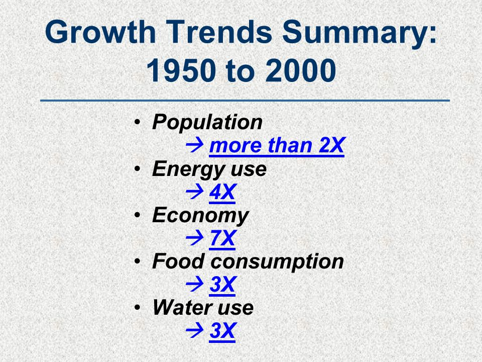 Growth Trends Summary: 1950 to 2000 Population  more than 2X Energy use  4X Economy  7X Food consumption  3X Water use  3X