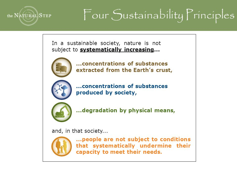 Four Sustainability Principles...concentrations of substances extracted from the Earth's crust,...concentrations of substances produced by society,...