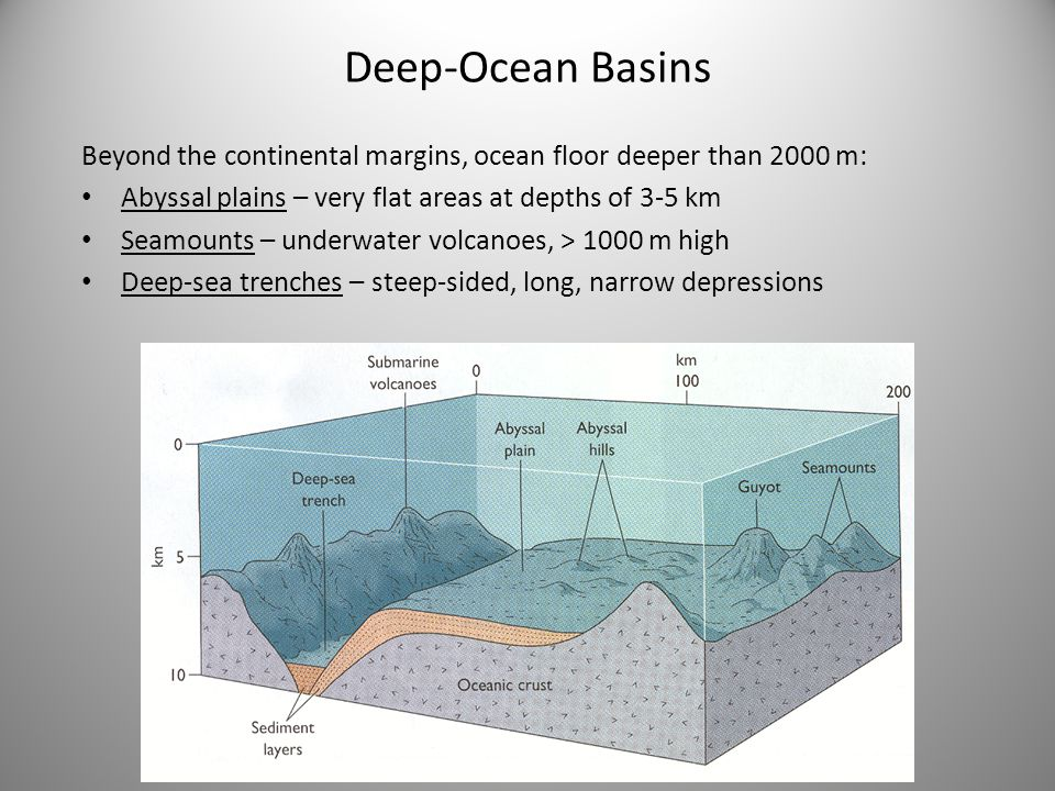 Deep-Ocean Basins Beyond the continental margins, ocean floor deeper than 2000 m: Abyssal plains – very flat areas at depths of 3-5 km Seamounts – underwater volcanoes, > 1000 m high Deep-sea trenches – steep-sided, long, narrow depressions