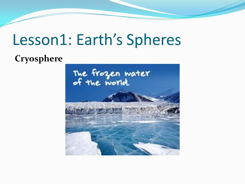 Lesson1: Earth's Spheres Cryosphere