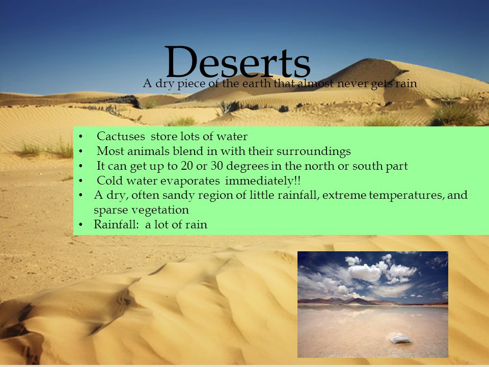  Deserts Cactuses store lots of water Most animals blend in with their surroundings It can get up to 20 or 30 degrees in the north or south part Cold water evaporates immediately!.