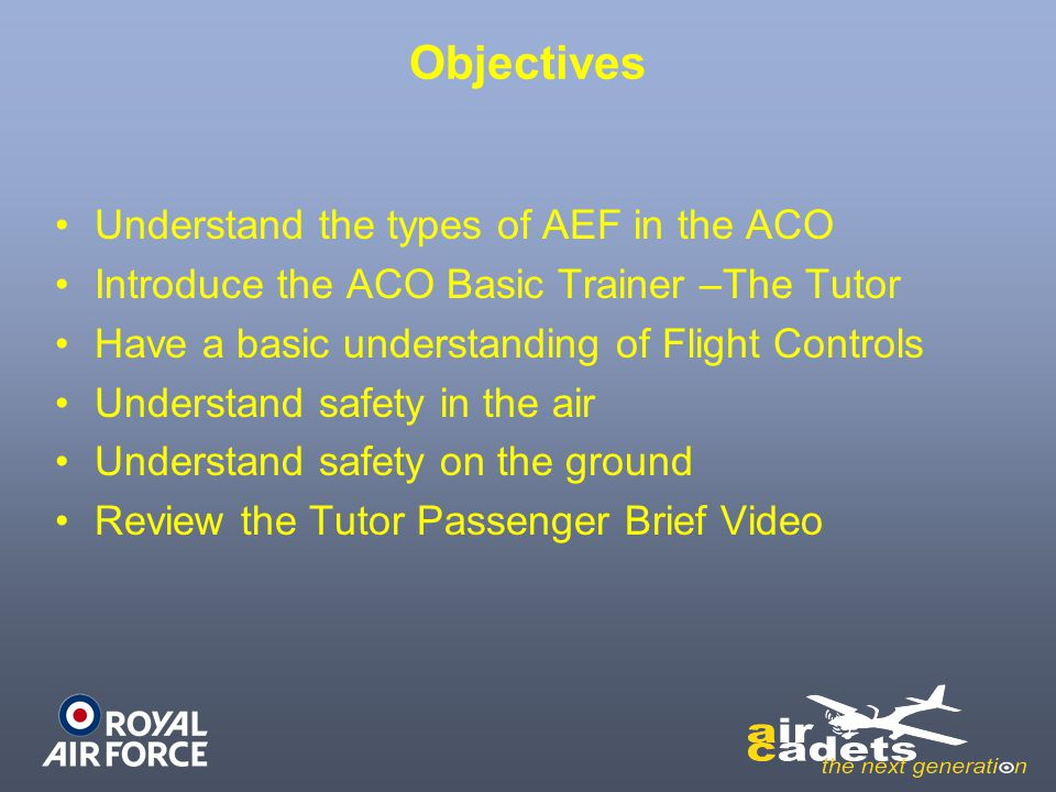 Objectives Understand the types of AEF in the ACO Introduce the ACO Basic Trainer –The Tutor Have a basic understanding of Flight Controls Understand