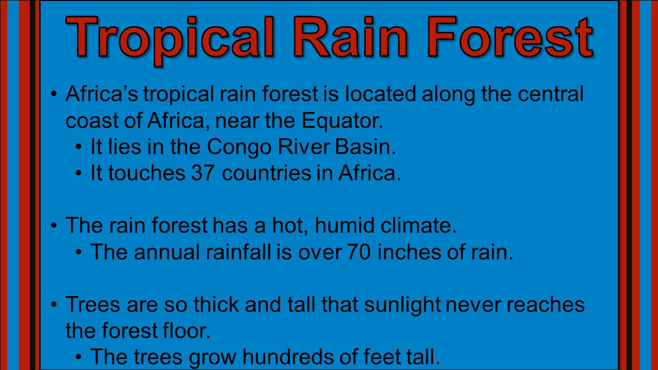 Africa's tropical rain forest is located along the central coast of Africa, near the Equator.