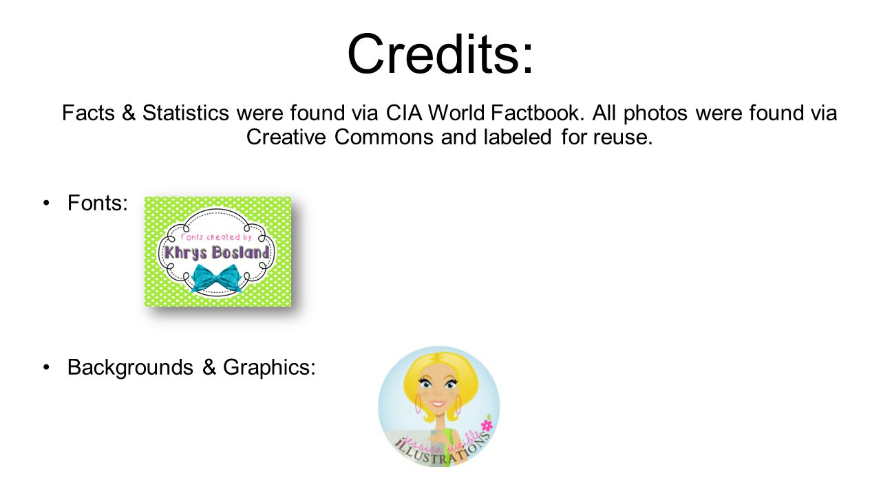 Credits: Facts & Statistics were found via CIA World Factbook.