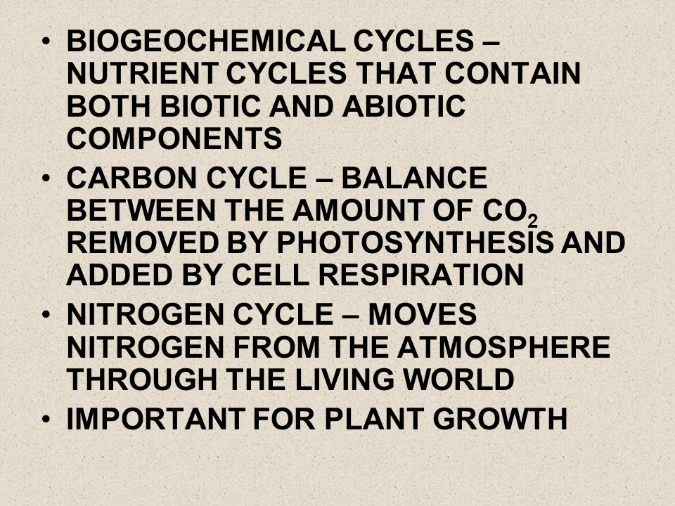 BIOGEOCHEMICAL CYCLES – NUTRIENT CYCLES THAT CONTAIN BOTH BIOTIC AND ABIOTIC COMPONENTS CARBON CYCLE – BALANCE BETWEEN THE AMOUNT OF CO 2 REMOVED BY P