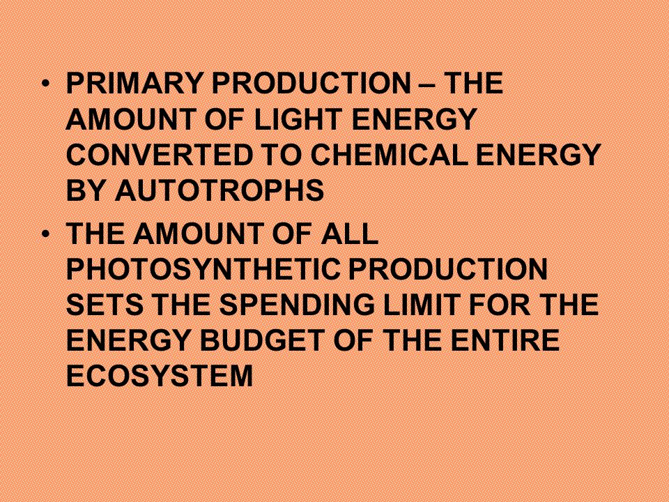 PRIMARY PRODUCTION – THE AMOUNT OF LIGHT ENERGY CONVERTED TO CHEMICAL ENERGY BY AUTOTROPHS THE AMOUNT OF ALL PHOTOSYNTHETIC PRODUCTION SETS THE SPENDI