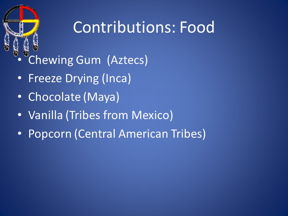 Contributions: Food Chewing Gum (Aztecs) Freeze Drying (Inca) Chocolate (Maya) Vanilla (Tribes from Mexico) Popcorn (Central American Tribes)