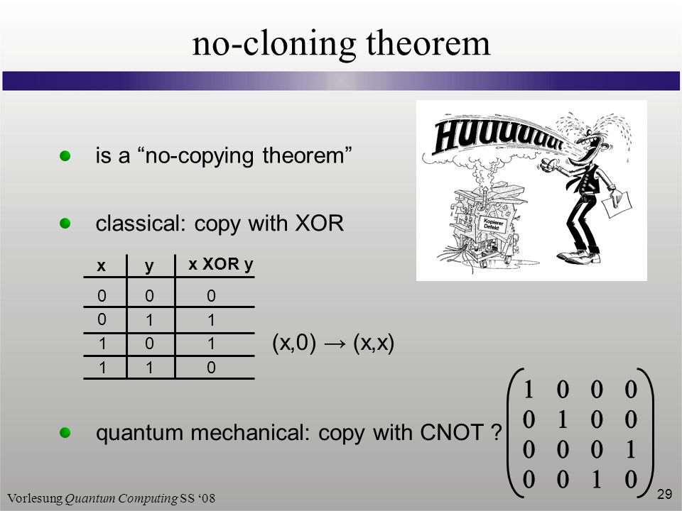 "Vorlesung Quantum Computing SS '08 29 no-cloning theorem is a ""no-copying theorem"" classical: copy with XOR y x XOR y 0 1 0 1 0 0 1 1 x 0 1 1 0 (x,0)"