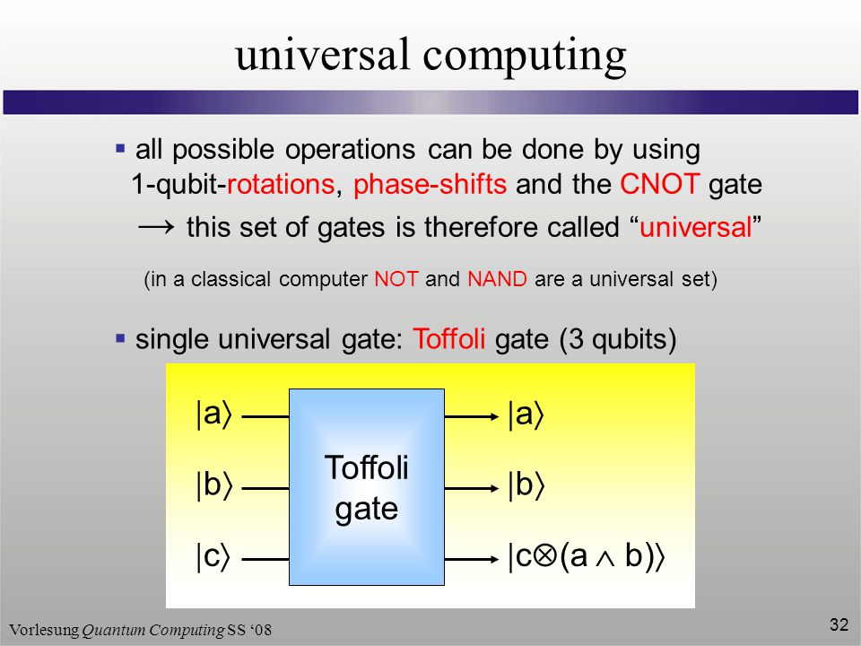 Vorlesung Quantum Computing SS '08 32 universal computing  all possible operations can be done by using 1-qubit-rotations, phase-shifts and the CNOT