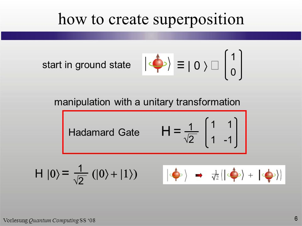 Vorlesung Quantum Computing SS '08 7 quantum computing HH -1 calculation U preparation    read-out   A     time  classical bit 1  ON  3.2 – 5.5 V 0  OFF  -0.5 – 0.8 V quantum-bit (qubit)  0     1    a 1  0  + a 2  1  = a1a1 a2a2 