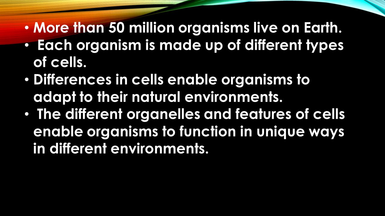 More than 50 million organisms live on Earth. Each organism is made up of different types of cells.