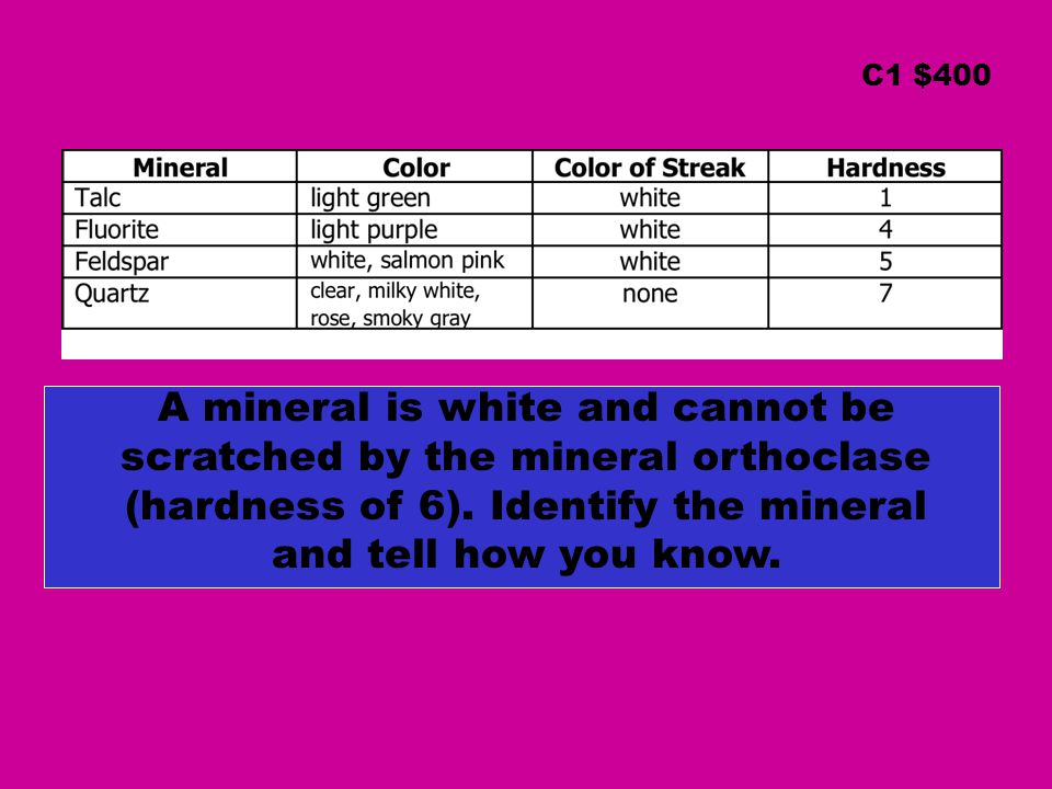 C1 $400 A mineral is white and cannot be scratched by the mineral orthoclase (hardness of 6). Identify the mineral and tell how you know.