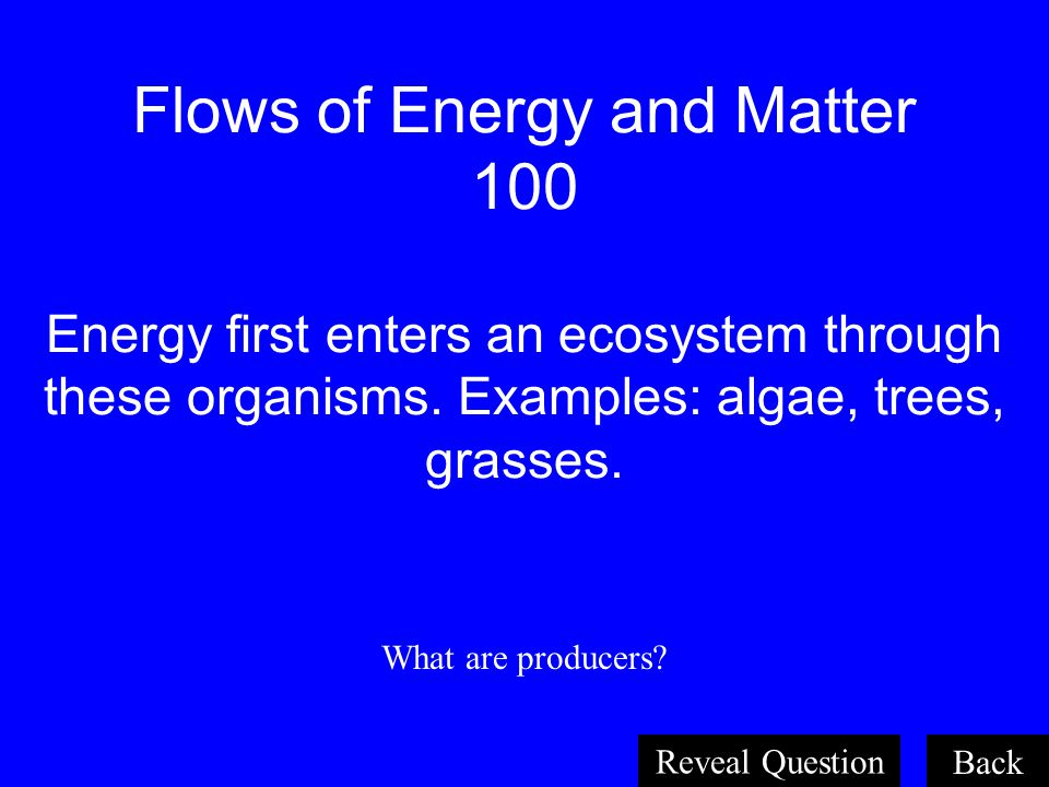 Organism and Their Relationships 100 A non-living part of an environment. Examples: sunlight, water, weather, rocks What is an abiotic factor? Back Re