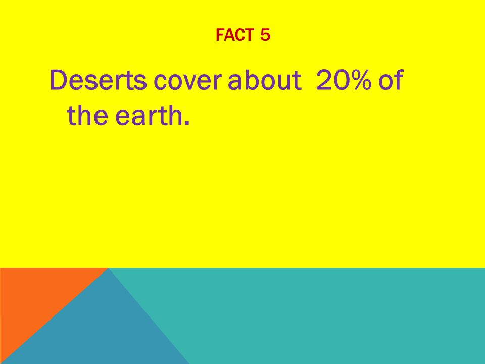 FACT 5 Deserts cover about 20% of the earth.
